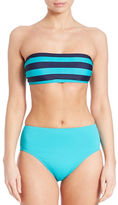 DKNY Striped Bandeau Swim Top