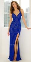 La Femme Open Back Lace Halter Prom Dress