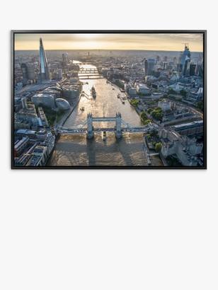 John Lewis & Partners Jason Hawkes - London Aerial View Framed Canvas Print, 74.5 x 104.5cm, Multi