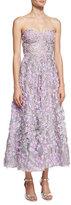 Marchesa Strapless 3D Floral Cocktail Dress, Lilac