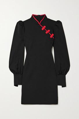 De La Vali Pachino Satin-trimmed Twill Mini Dress - Black