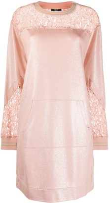 Liu Jo Lace-Yoke Metallic Sweatshirt Dress
