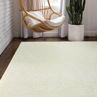 "Wayfair Basics™ Shag Cream Area Rug Rug Size: Rectangle 3'1"" x 5'3"""