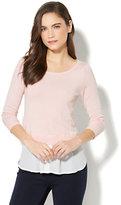 New York & Co. Hi-Lo Twofer Sweater - Pink