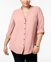 Alfani Plus Size Roll-Tab Blouse, Only at Macy's
