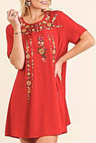 Umgee USA Red Embroidered Dress