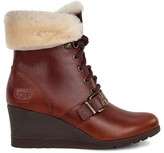 UGG Janney Leather and Sheepskin Lace Up Wedge Booties