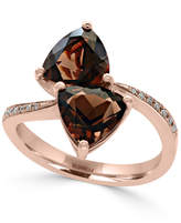Effy Smoky Quartz (3-3/8 ct. t.w.) and Diamond Accent Bypass Ring in 14k Rose Gold