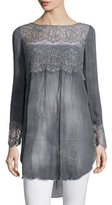 Calypso St. Barth Luspra Long-Sleeve Lace-Embellished Top, Lava