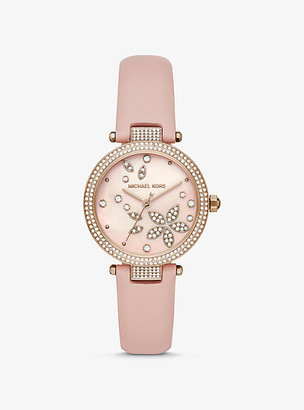 Michael Kors Parker Pave Rose Gold-Tone and Leather Watch - Rose Gold