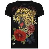 Philipp Plein Girls Black Floral Tiger Top