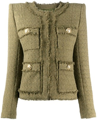 Balmain Frayed Cropped Tweed Jacket