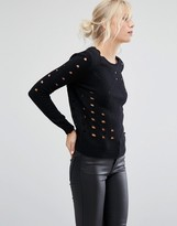Shae Sophie Perforated Wool Mix Sweater