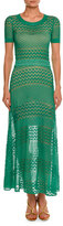 Missoni Short-Sleeve Crewneck Open-Knit Gown, Green