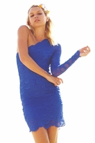 Nightcap Clothing Victorian Lace One Sleeve Dress in Blue Violet