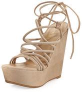 Stuart Weitzman Histrung Suede Lace-Up Wedge Sandal