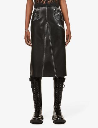 Alexander McQueen Contrast-stich high-waist leather midi skirt