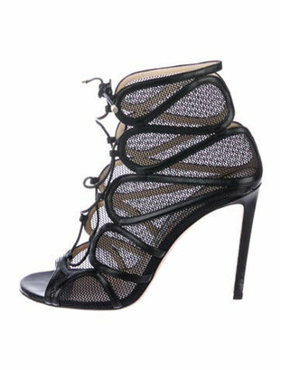 Jimmy Choo Cutout Accent Gladiator Sandals Black