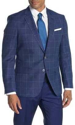 BOSS Dark Blue Windowpane Two Button Notch Lapel Virgin Wool Slim Fit Suit Separates Blazer