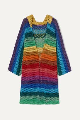 Rose Carmine - Striped Metallic Crochet-knit Hooded Cardigan - Blue