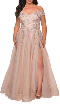 La Femme Plus Size Off-the-Shoulder Lace-Bodice A-Line Gown
