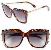 Fendi Women's 53Mm Retro Sunglasses - Havana/ Black/ Ruthenim