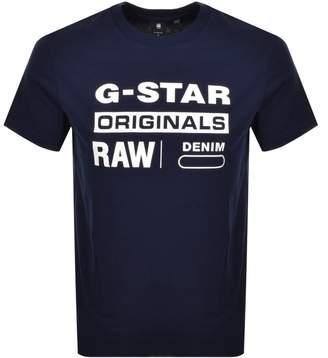 G Star Raw Logo T Shirt Navy