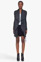 Helmut Lang Charcoal Draped Belted Wool Cardigan