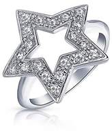 Bling Jewelry Patriotic Pave Cz Open Star Sterling Silver Ring.