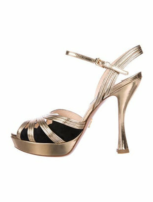 Prada Leather Cutout Accent Sandals Gold