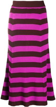 MSGM Striped Ribbed Mid-Length Skirt