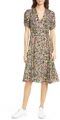 Polo Ralph Lauren Grace Floral Short Sleeve Silk Blend Midi Dress
