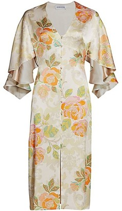 Adriana Iglesias Victoria Floral Jacquard Stretch Silk Dress