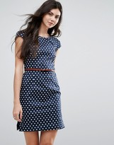 Vero Moda Polka Dot Belted Dress With Capped Sleeves