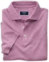Charles Tyrwhitt Wine and White Birdseye Cotton Polo Size Large