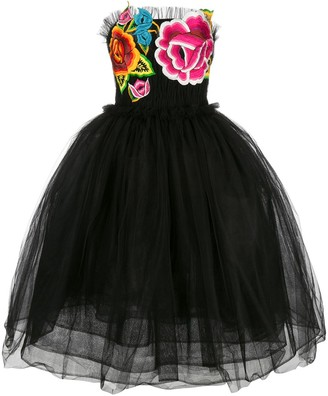 Carolina Herrera Strapless Floral-Embroidered Dress