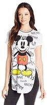 Disney Women's Mickey All Over Print High-Low Tunic T-Shirt