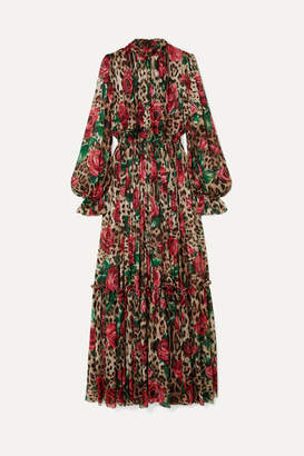 Dolce & Gabbana Pleated Printed Silk-chiffon Gown - Black