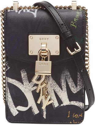 DKNY Elissa Graffiti Logo North-South Leather Crossbody