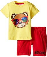 Moschino Kids - Short Sleeve Logo Teddy Bear T-Shirt Shorts Set Girl's Active Sets