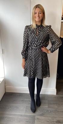 Marella Black Dress With Gold Spots - UK 8