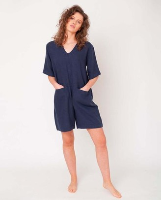 Beaumont Organic Nova Linen Jumpsuit In Midnight - Midnight / Extra Small