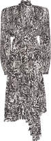 Balenciaga Dynasty Animal-Print Draped Crepe Midi Dress