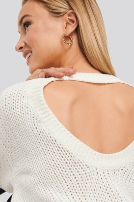 NA-KD Open Back Knitted Sweater Beige