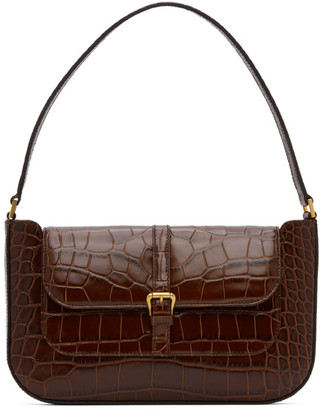 BY FAR Brown Croc Miranda Shoulder Bag