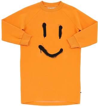 Molo SMILE PRINT COTTON SWEATSHIRT DRESS
