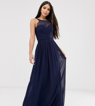 Little Mistress Tall embellished top maxi dress in navy