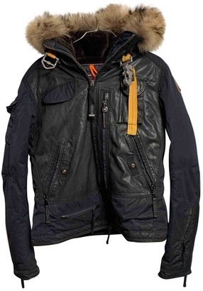 Parajumpers Navy Leather Coat for Women