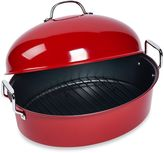 Tabletops Unlimited High Dome Nonstick Steel Covered Roaster with Rack in Red