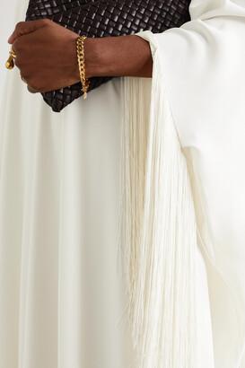 Oscar de la Renta - Fringed Silk-blend Crepe De Chine Kaftan - Ivory